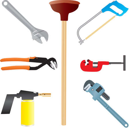 pipe wrench: Plumbers Tools,Adjustable Spanner,Wrench,Pipe Wrench,Blow Torch,Pipe Cutter and Hacksaw Illustration