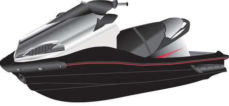 moto acuatica: A Negro y Plata Jet Ski aislado en blanco Vectores