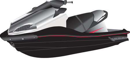 jet ski: Un jet ski noir et argent isol� sur blanc Illustration