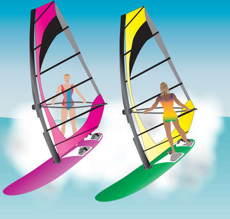 windsurf: Dos Mujeres Bonitas Windsurf por una ola
