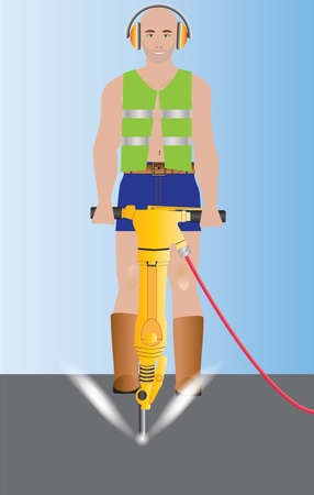 Man wearing safety vest operating a Jack Hammer Drill Vector