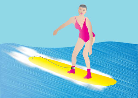 An Older Woman surfing on a yellow surf board