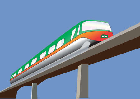 high speed railway: A Green and Orange Monorail Train on a bridge