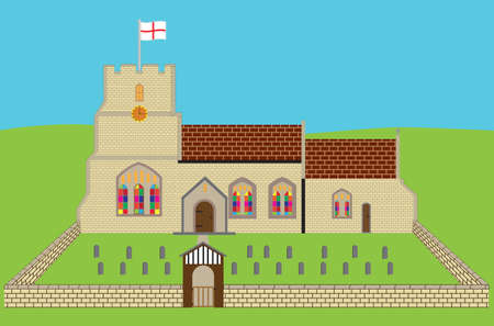 An old English Church and Churchyard Vector