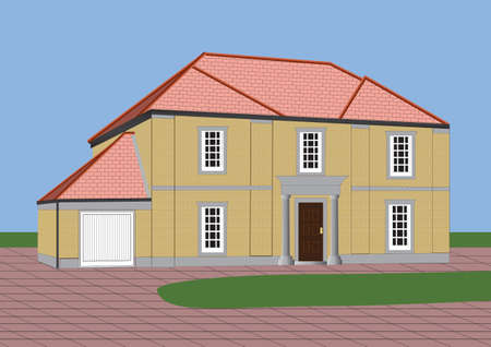 A Large Stone Built Detached House with Flagstone Yard Vector