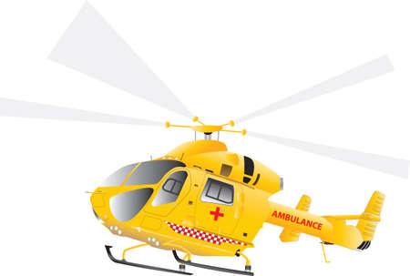 A Yellow Air Ambulance Helicopter isolated on white