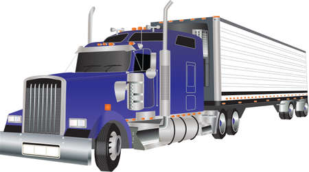semi truck: Un cami�n azul americano arrastrando un remolque refrigerado Vectores