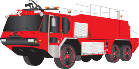 emergency response: A Red Airport Fire Truck isolated on white Illustration