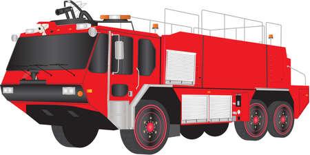 A Red Fire Truck aeropuerto aislado en blanco