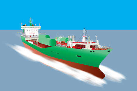 bulk carrier: A detailed illustration of a Cargo Ship  carrying liquid gas tanks Illustration