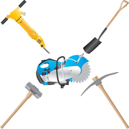 A Jack Hammer,Stone Saw,Shovel,Pickaxe,and Sledge Hammer Illustration