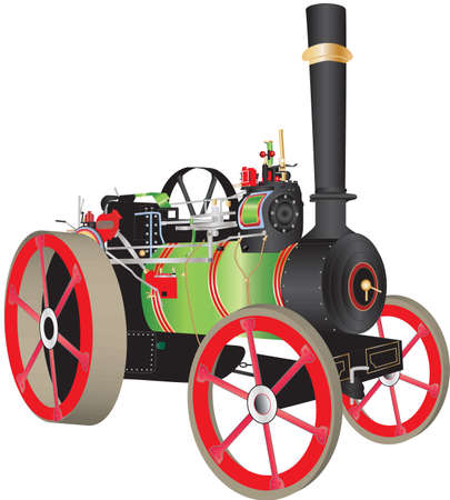 A Green and Red Steam Traction Engine Stock Vector - 19480149