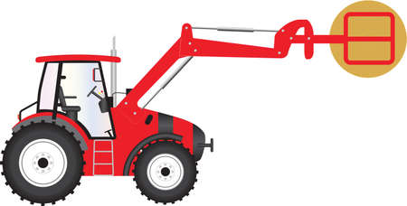 hay bale: A Red Farm Tractor carrying a bale of hay Illustration