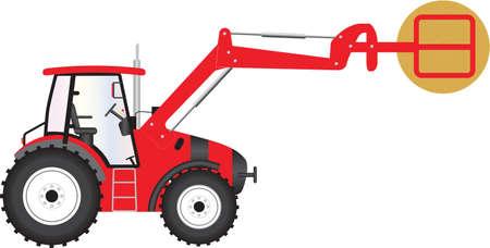 Un tracteur agricole rouge portant une botte de foin