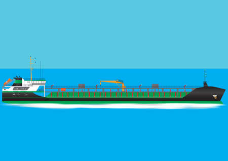 A Green and Black Oil Tanker Ship travelling at speed Vector
