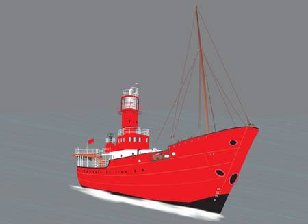 A Red Lighthouse Ship on a stormy sea Stock Vector - 19480154
