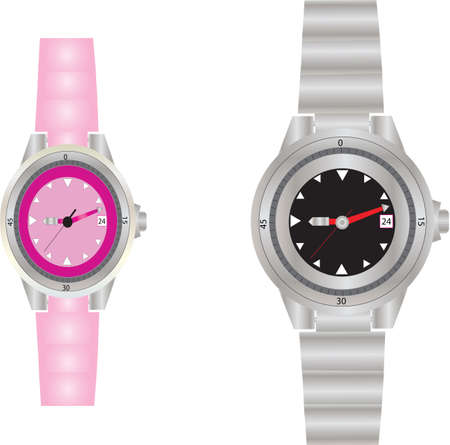 wrist watch: A Womans  and Mans  Dive Watches Illustration