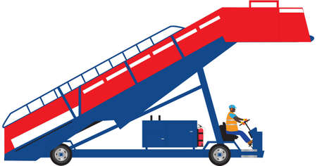 movable: Red and Blue Self Propelled Aircraft Steps Illustration