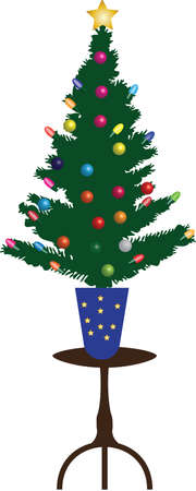 A Christmas Tree decorated with Fairy lights and Glass Baubles