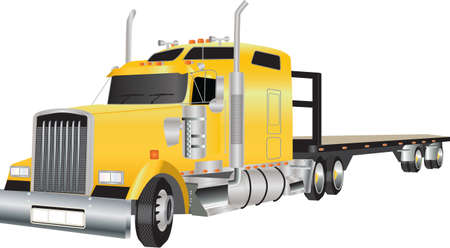 A Yellow American Truck hauling a Flat Bed Trailer