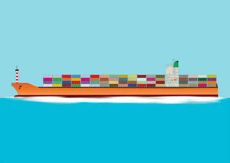 seaport: A Fully Laden Container Ship Travelling at Speed