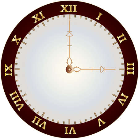 A Vintage Clockface with gold roman numerals and ornate hands Illustration