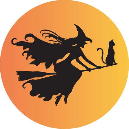 Een heks en haar kat op haar bezemsteel vliegen in de voorkant van de maan