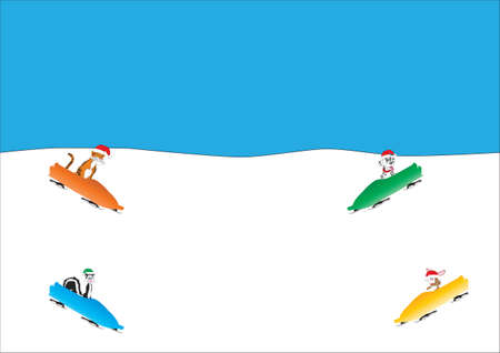 sledging: A Cartoon Tiger Skunk Dalmatian Puppy and a Rabbit Sledging  Illustration