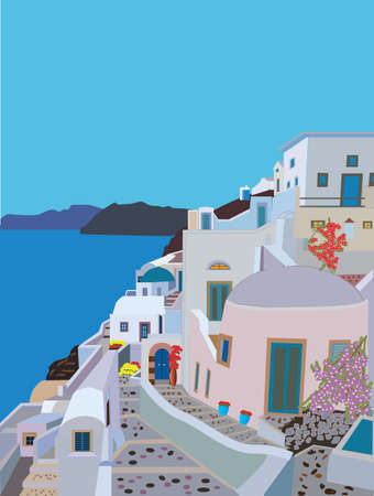 A Pretty Traditional Greek Village with winding streets and a Church and flowers by the sea