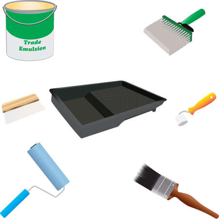 Painters Tools Brushes, Paint Roller,Roller Tray,Wallpaper Brush,Seam Roller,Paste Brush and Paint Can Vector