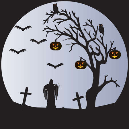 A Halloween Scene of a Withered tree,Bats,Pumpkins,Owls, a Graveyard and the Grim Reaper in front of a pale moon