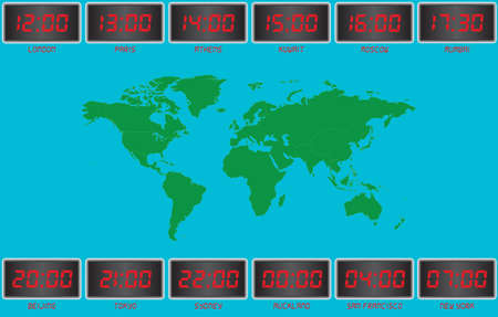 World Time on Digital Clocks London,Paris,Athens,Kuwait,Moscow,Mumbai,Beijing,Tokyo,Sydney,Auckland,San Fransisco and New York with a World Map in the Background Vector