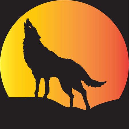Een wolf in silhouet huilen bij een volle maan geschikt voor Halloween Art