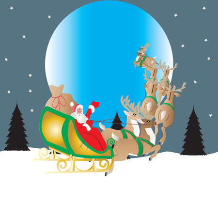 Santa and his reindeer drawn sleigh flying in front of the moon with a star filled sky background Vector