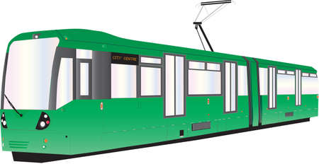 A Modern Green Tram or Trolley Car isolated on white