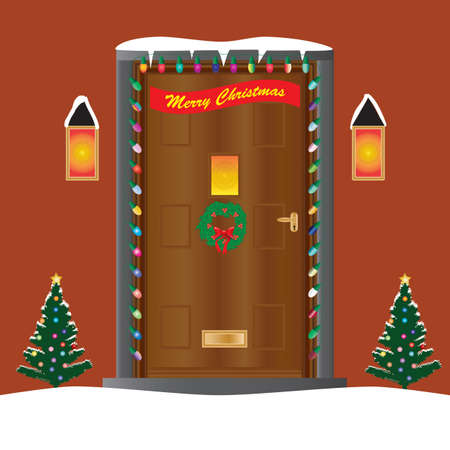 A Welcoming house door decorated for Christmas with lights, a holly wreath and christmas trees Vector