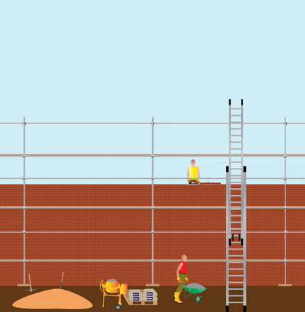 Construction Workers building a brick wall, with cement mixer,scaffolding anda ladder in foreground Vector