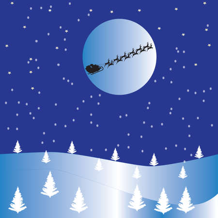 A Snowy Christmas Scene with stars,snow falling,christmas trees and Santas sleigh flying in front of the moon Vector