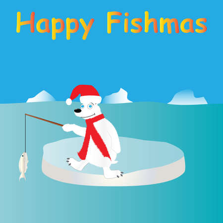 A Cartoon Christmas Design of a polar bear wearing a santa hat catching a fish on an ice floe with icebergs in the background Vector