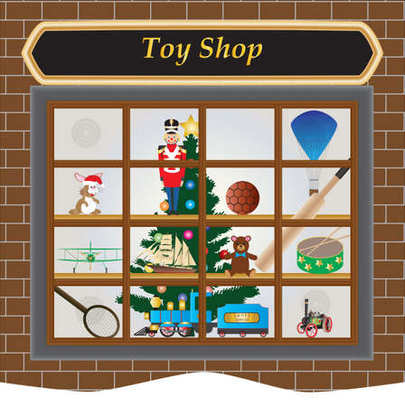 A Toy Shop Window at Christmas with Toy Train,Soldier,Drum,Airplane,Football,Ship,Teddy Bear,Rabbit,Cricket Bat,Tennis Raquet and Christmas Tree Vector