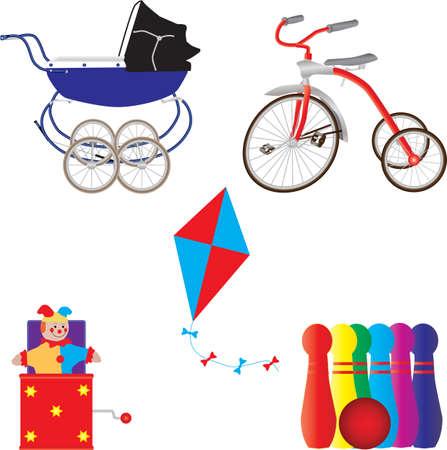 driewieler: Vintage Speelgoed, Pram, Tricycle, Kite, Jack in the Box, Ball en Skittles geschikt voor Artwork Kerstmis Stock Illustratie