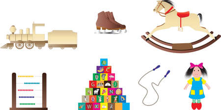 skipping: Traditional Childrens Toys,Rocking Horse,Building Bricks,Rag Doll,Train,Skipping Rope,Abacus,Ice Skates Illustration