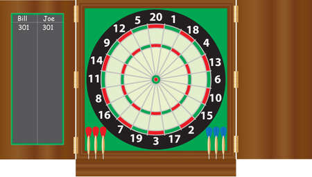A Dartboard with coloured darts in a case with scoreboard