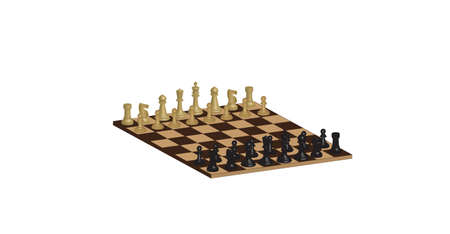A Three Dimensional Chessboard isolated on white Vector