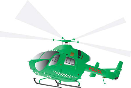 A Green Police Helicopter isolated on white