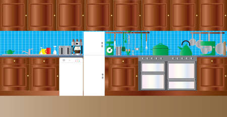 A Fitted Kitchen with sink, dishwasher,freezer,oven and various kitchen utensils Vector