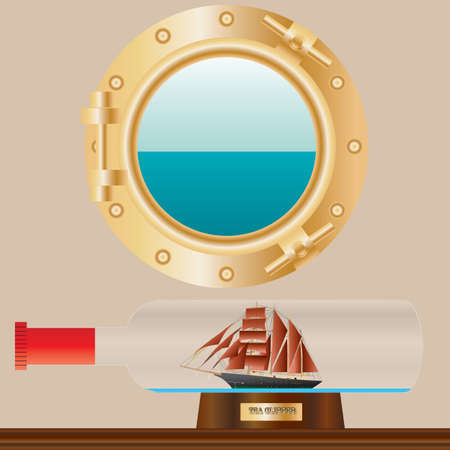 A Model Sailing Ship in a bottle in a ships cabin with porthole in background and seaview