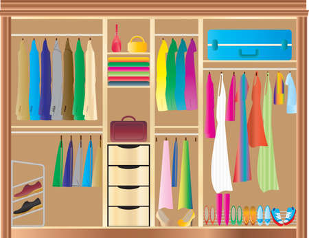 A Fitted Wardrobe filled with mans and womans clothes,shoes,handbags and luggage Illustration