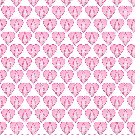 A Seamless Pattern of Wedding Horseshoes and Hearts