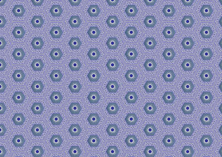 A Seamless Pattern of Hexagonal Blue Grey and White Tiles